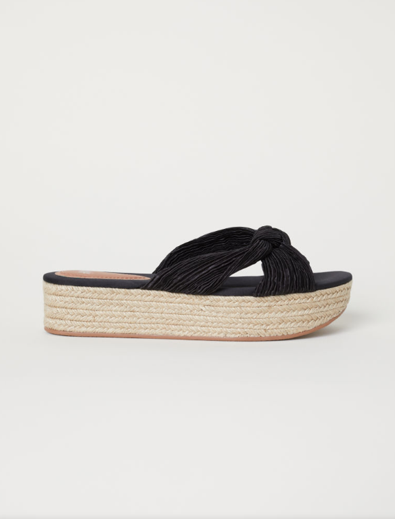 3. H&M Black Satin Platform Espadrill Sandals - £19.99 (Image H&M)