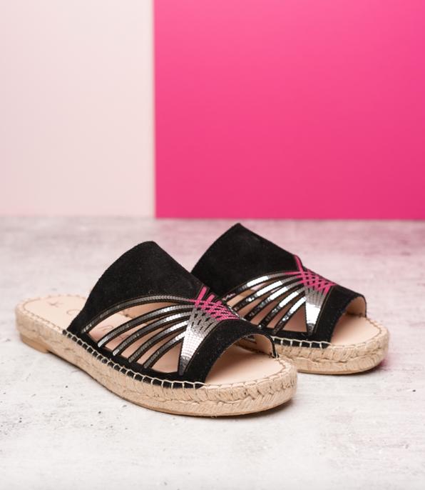 7. Cara Mirrored Stud Detail Espadrille Slide - £80 (Image Cara Shoes)