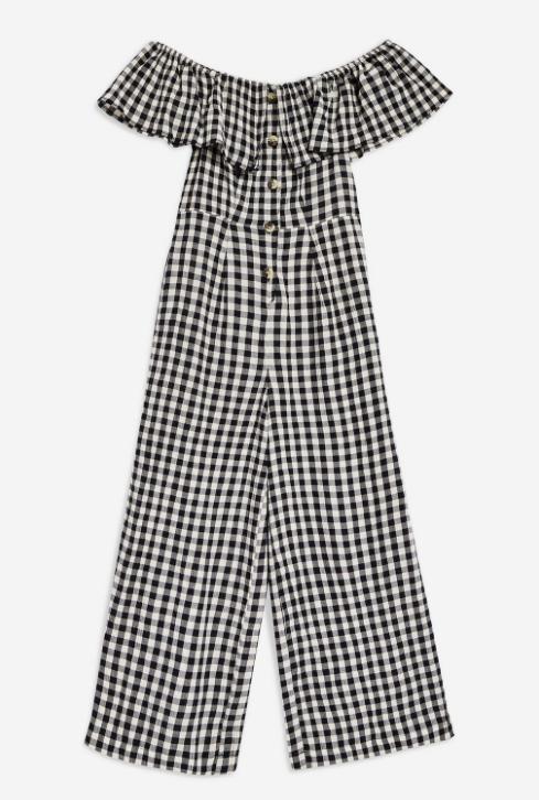 1. Gingham Bardot Jumpsuit - £39
