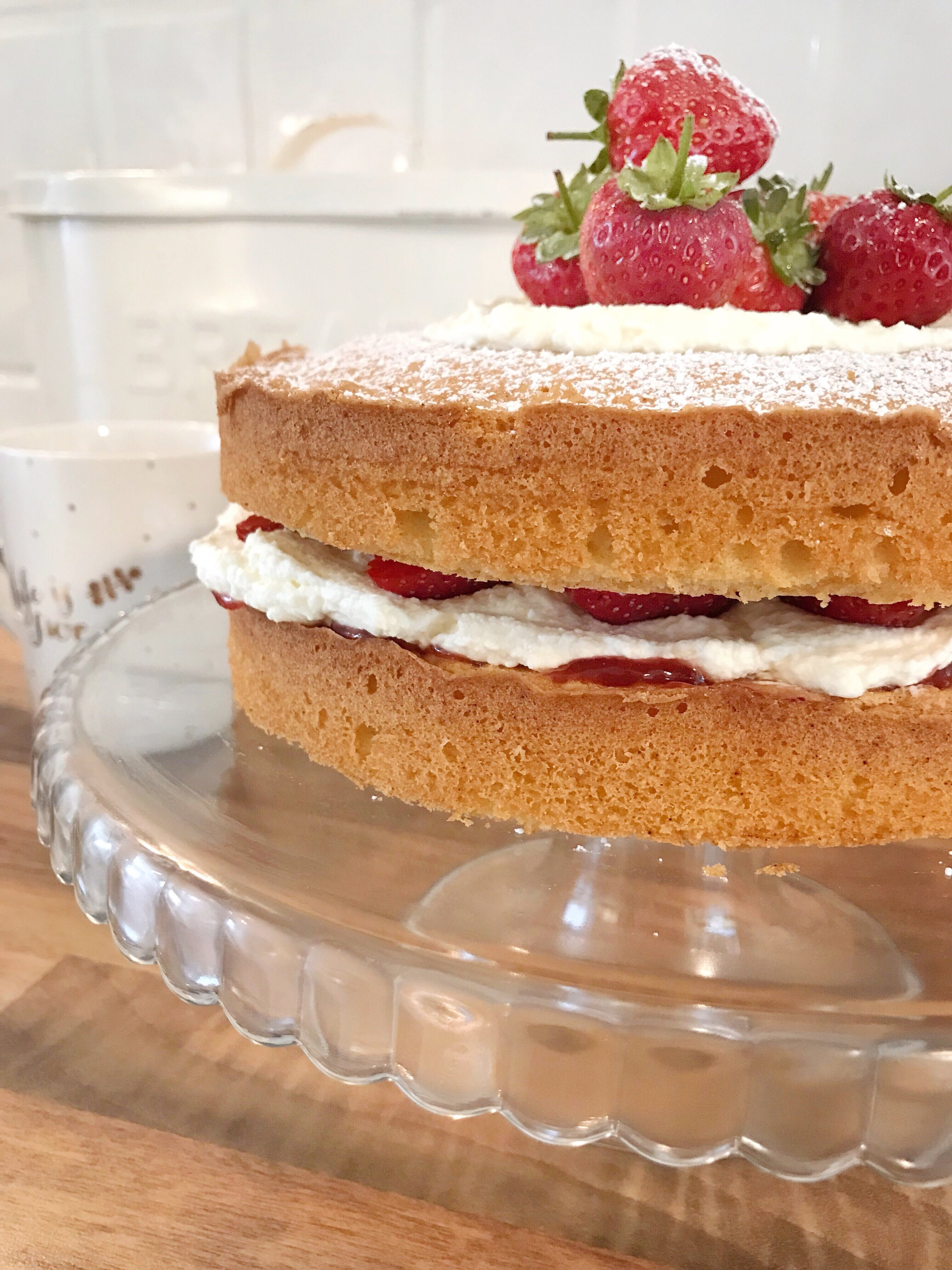 Vanilla Sponge with fresh cream and strawberries cake recipe.JPG