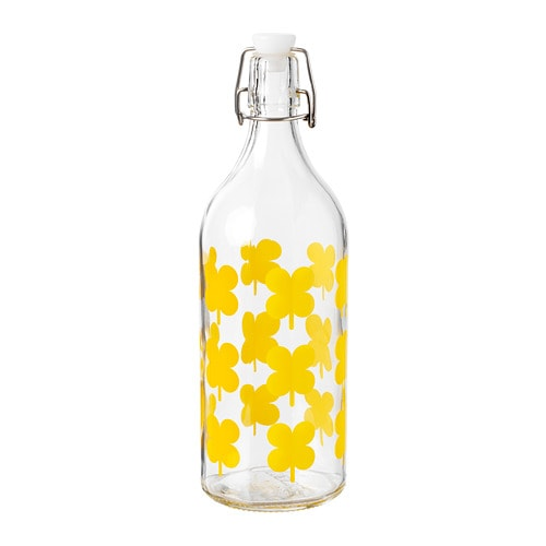 - Sommar Yellow Flower Glass Bottle | Ikea