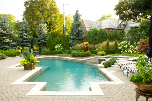 A backyard pool surrounded by beautiful landscapes