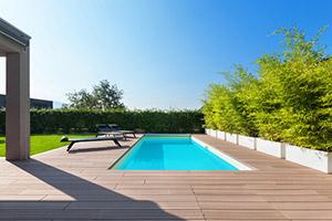A beautiful backyard with a Pool Deck