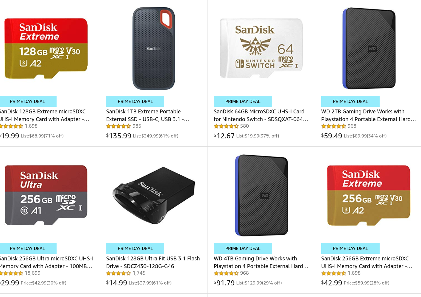 Sandisk and WD Discounts - https://amzn.to/2lrSJgV