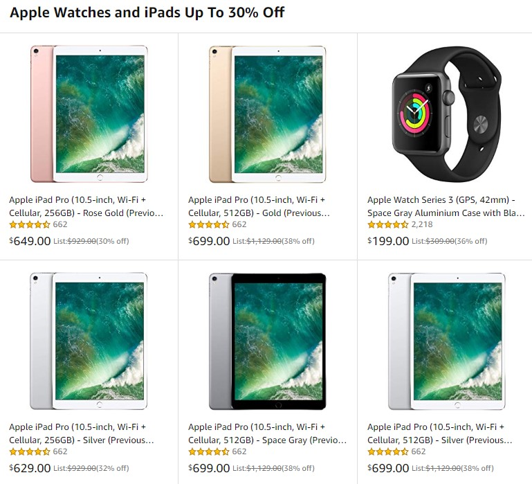 Up to 30% off iPads and Apple Watches - https://amzn.to/2k4n4lb