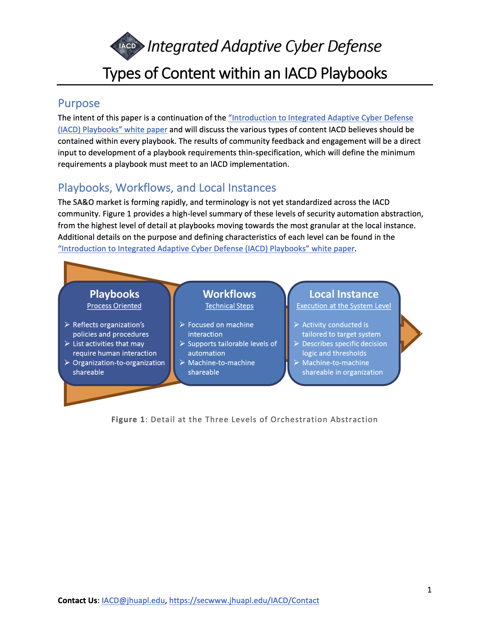 Types of Content in an IACD Playbook