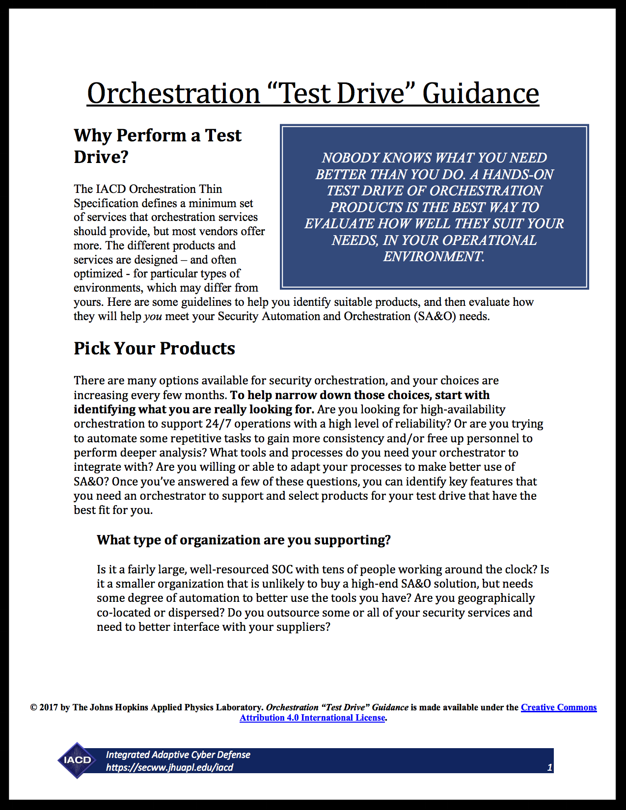 Orchestration Test Drive Guidance