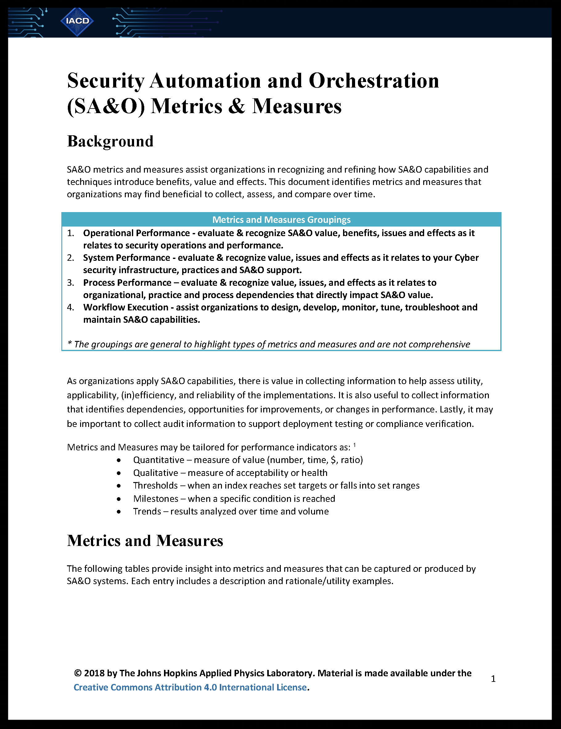 Security Automation & Orchestration (SA&O) Metrics & Measures