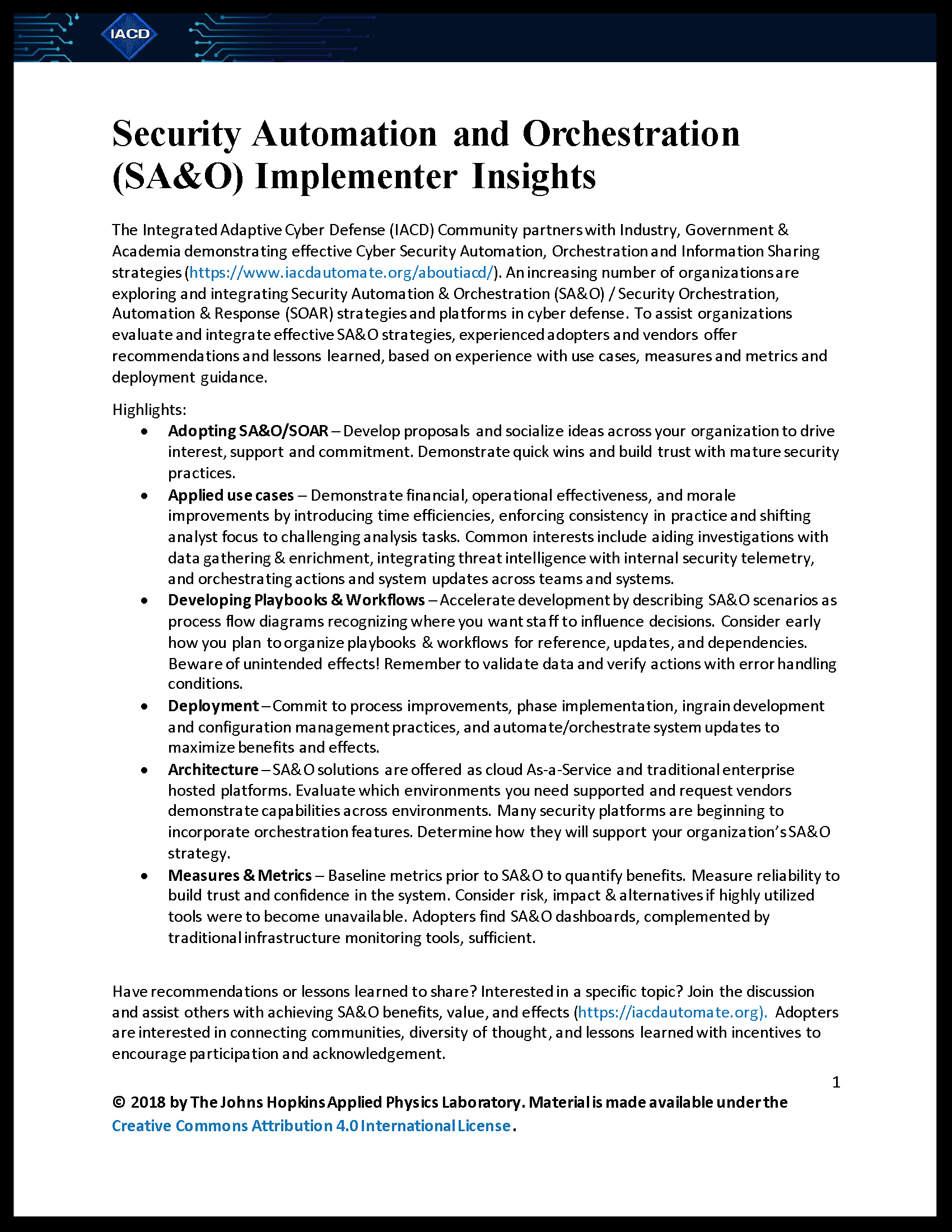 Security Automation and Orchestration (SA&O) Implementer Insights