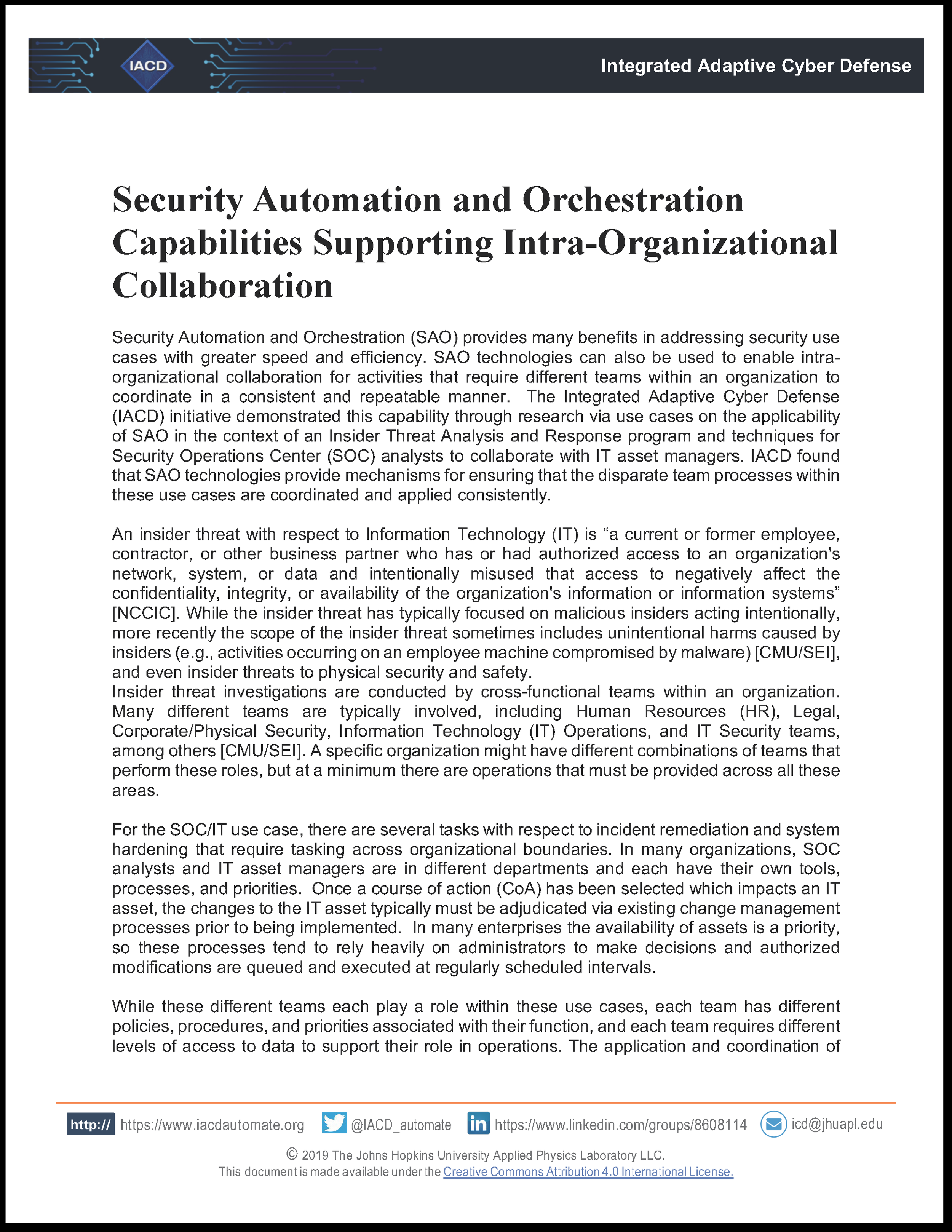 Security Automation and Orchestration Capabilities Supporting Intra-Organizational Collaboration