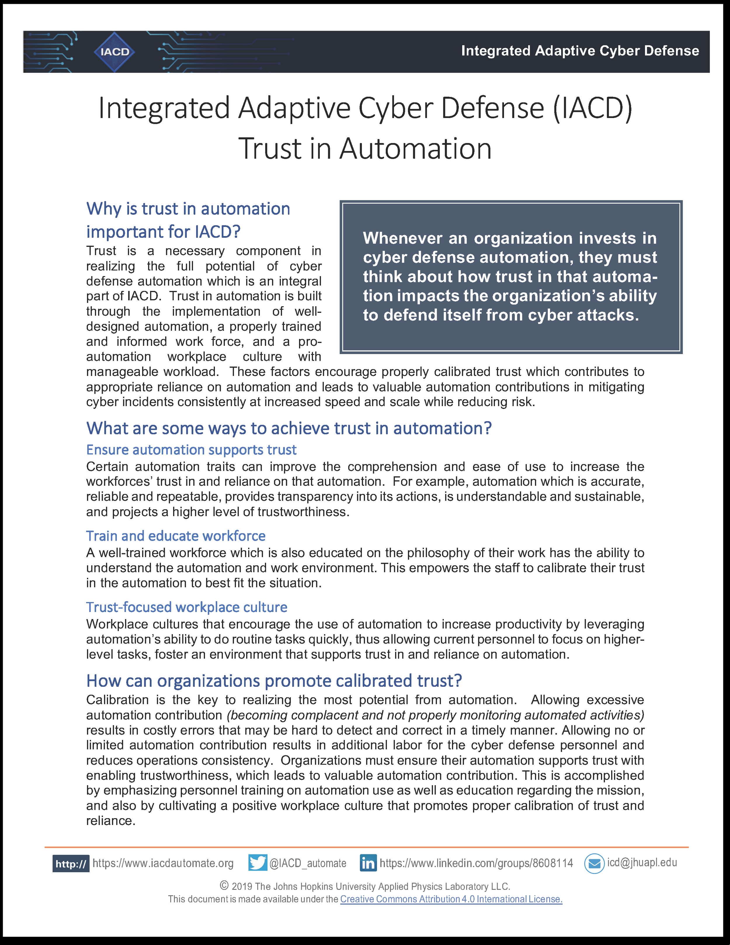 IACD Trust in Automation Whitepaper