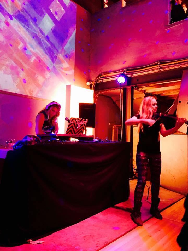 DJ Celeste with Violin Girl (Amanda Marks) at Public Works, S.F.