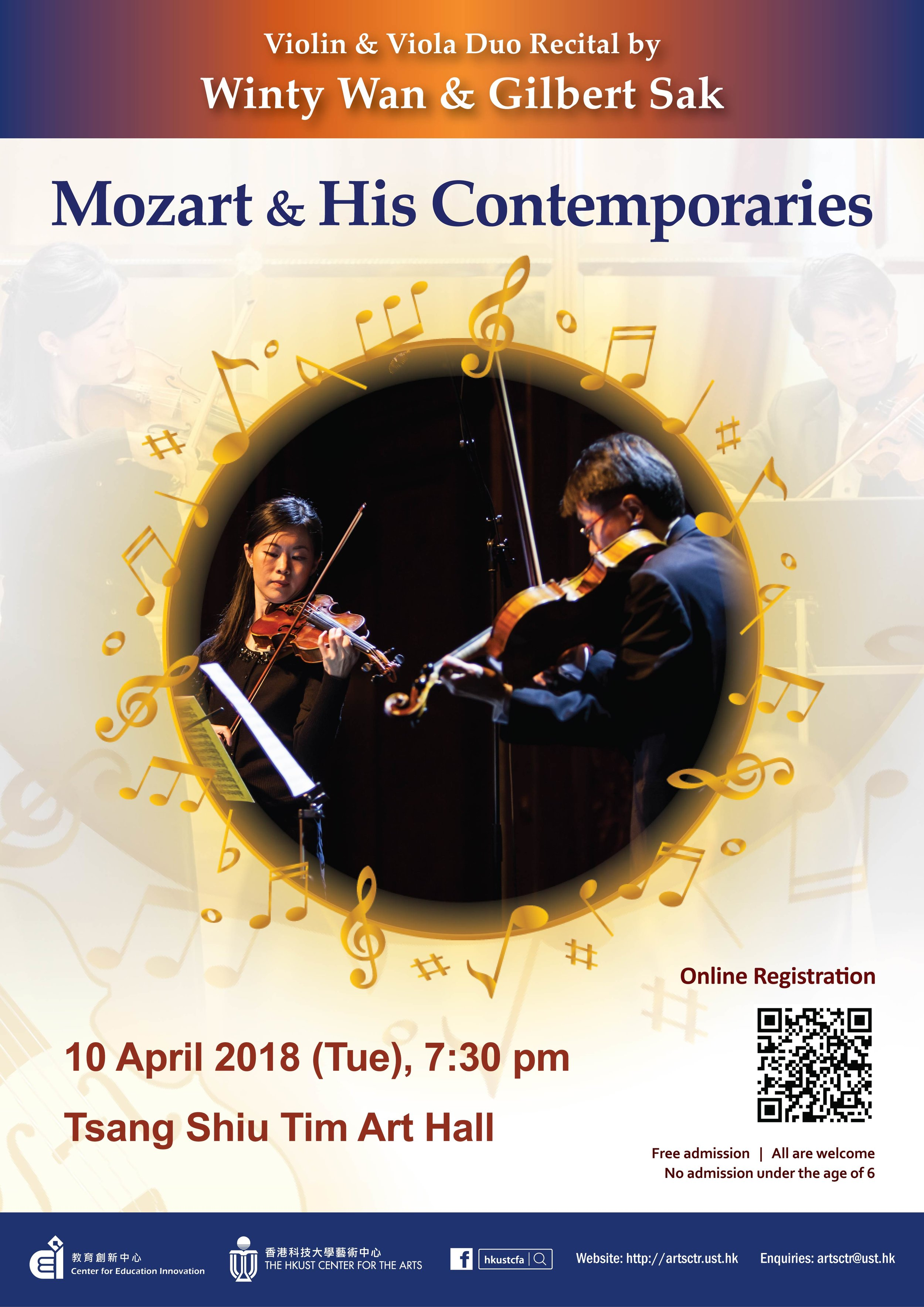 Violin and Viola Duo Recital by Winty Wan and Gilbert Sak  Apr 10, 2018