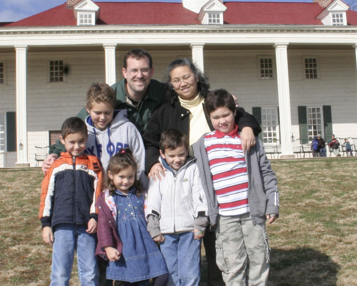 When we began in 2009. No, that's not our home; we were on a field trip visiting George Washington's at Mt. Vernon.