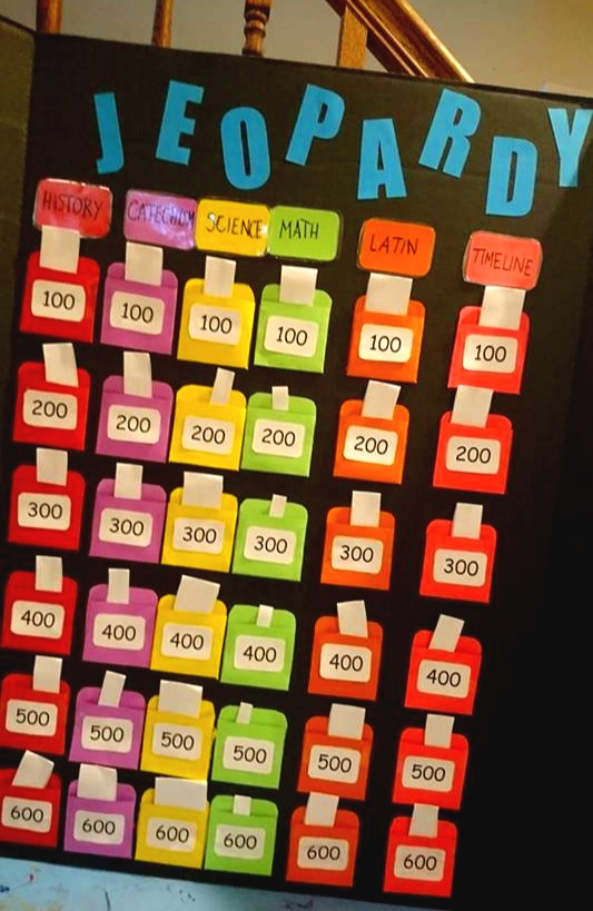 Jeopardy Board prepared for Prima I girls by Jennifer Villella.
