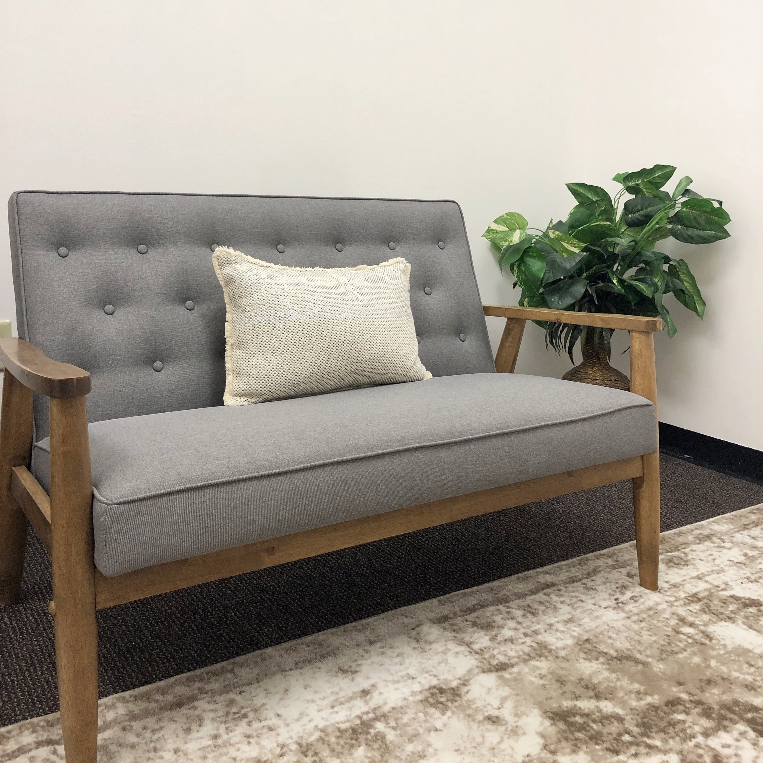 Our therapy office is clean, modern, cozy, and minimal.