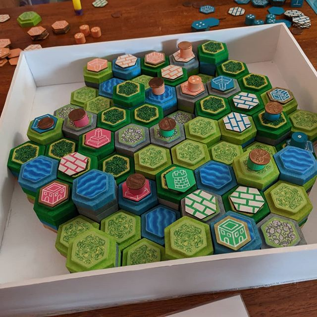 "We got to play a prototype of ""Stack World"" by @zoardgames , and it was as enjoyable as it is unique. An amazing take on a legacy game with very interesting infrastructure system. Those hexes - they stack!"