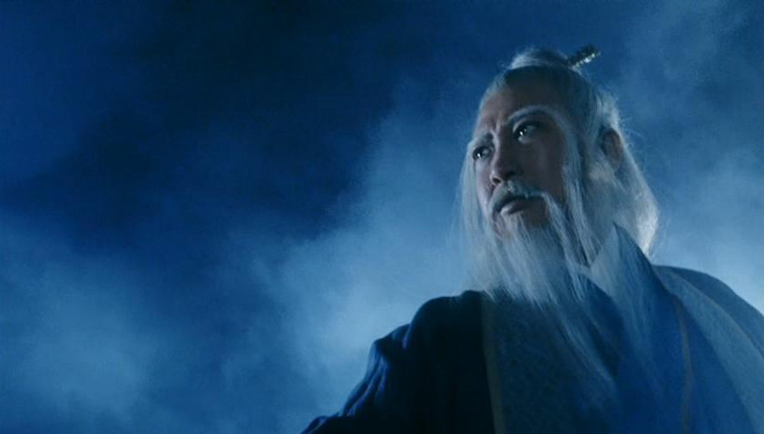(Sammo Hung as Zhang Sanfeng in the 1993 film adaptation of Heaven Sword and Dragon Sabre, which features Sanfeng as a mentor of Zhang Wuji and a major supporting character.)