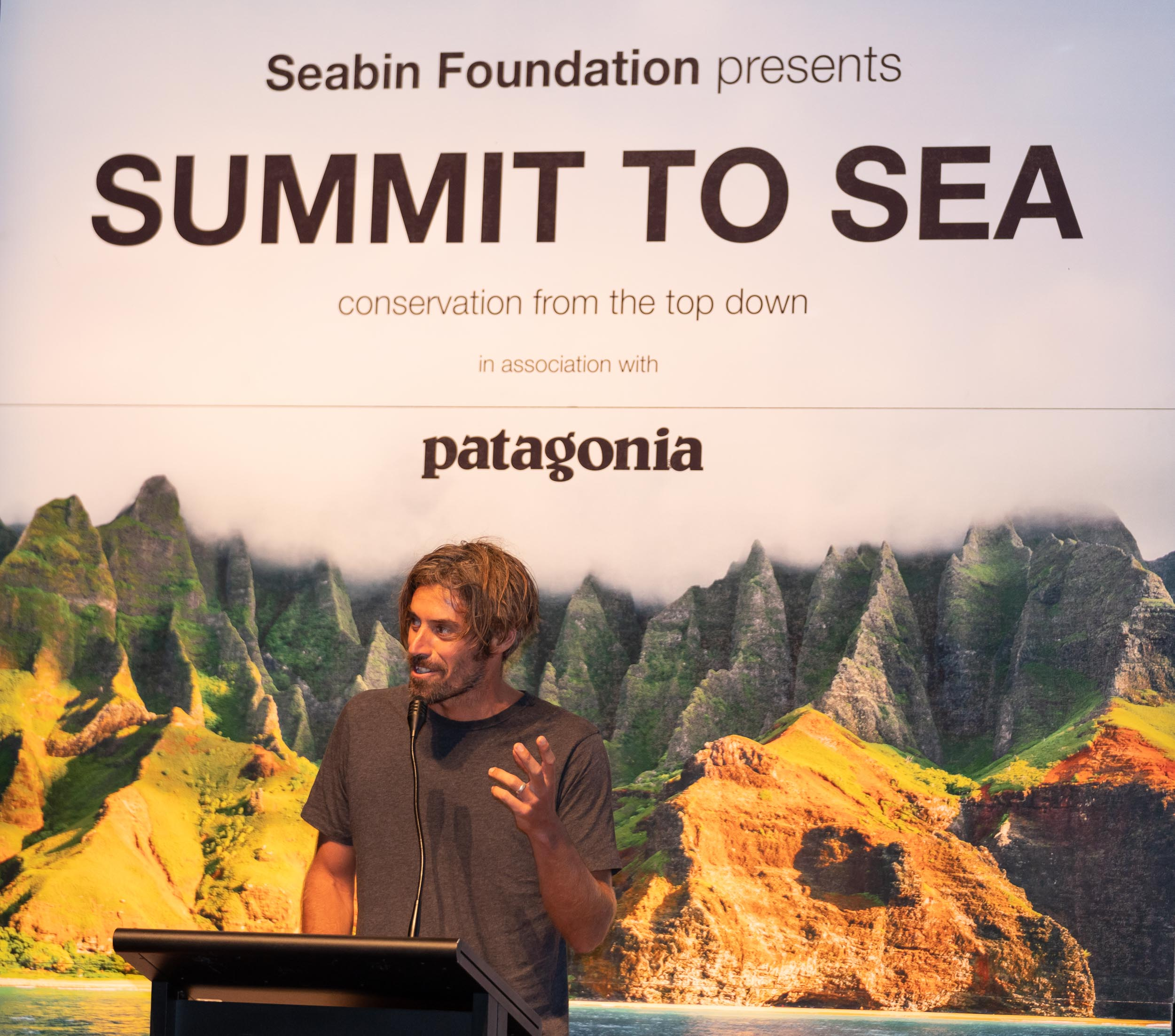 Dave Rastovich presenting on behalf of the Summit co-host Patagonia.