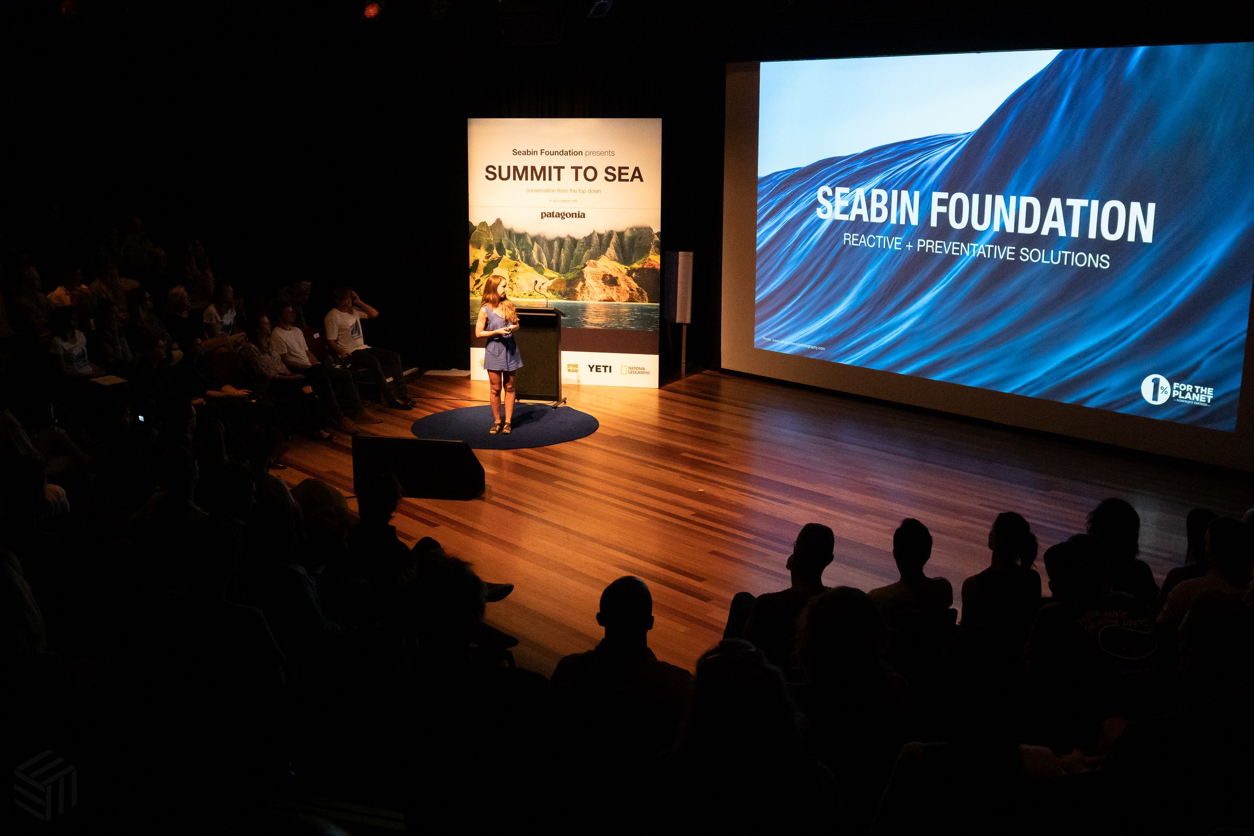 Mahi Paquette, COO of Seabin Foundation presenting at the summit.