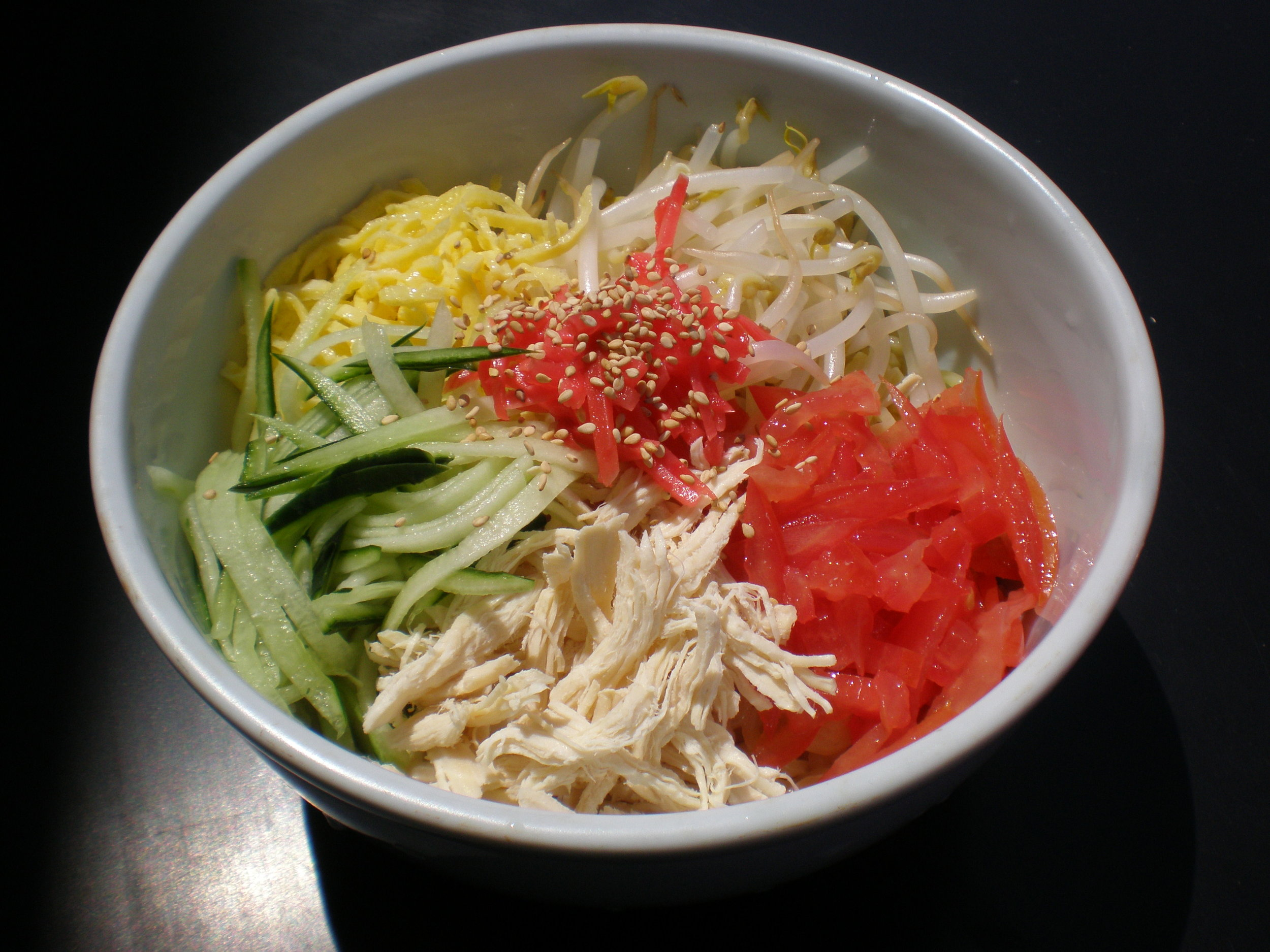 Ramen Salad with Baked Egg and Chicken