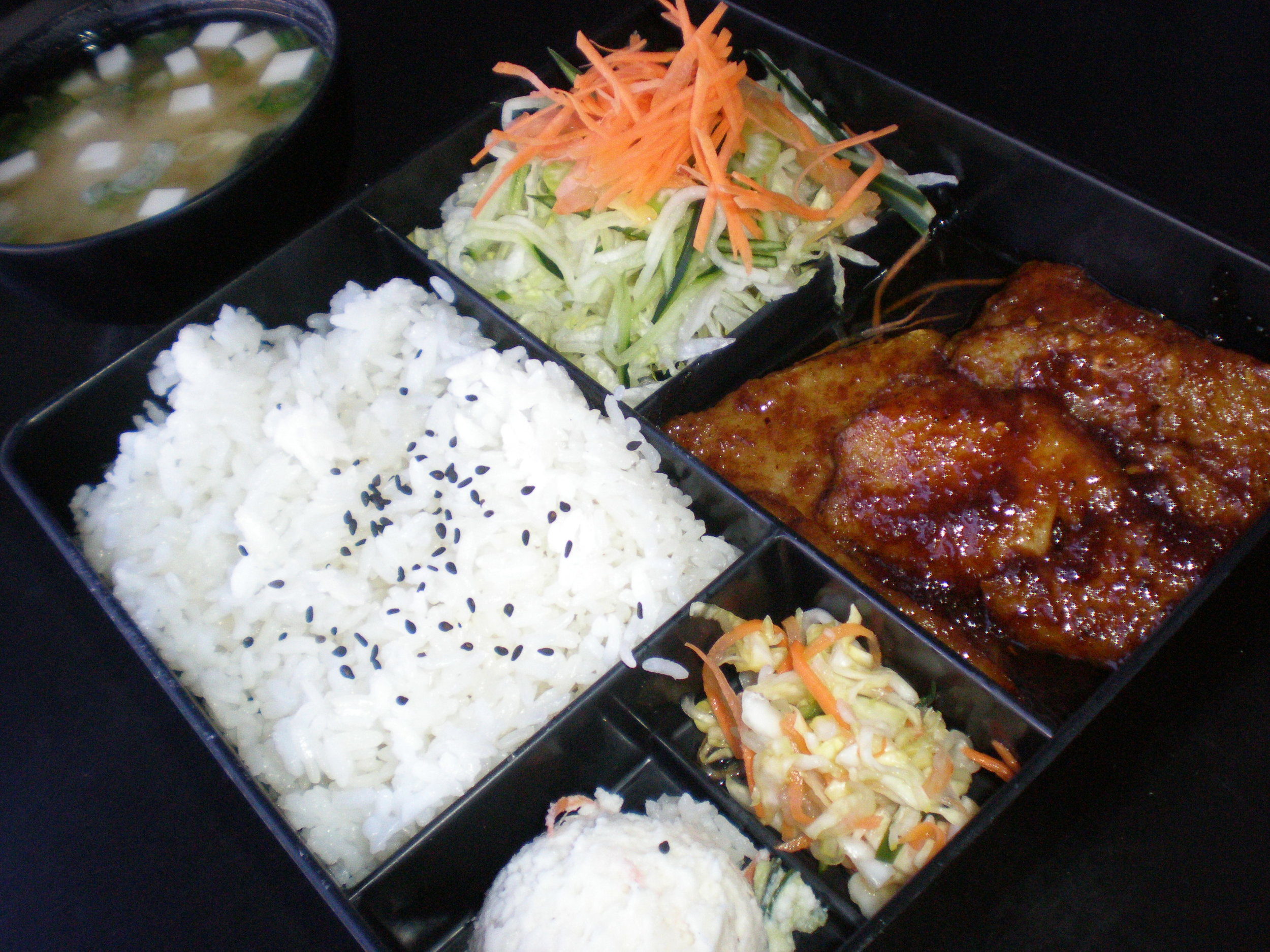 Salmon Sashimi with Salad, Miso Soup and Rice