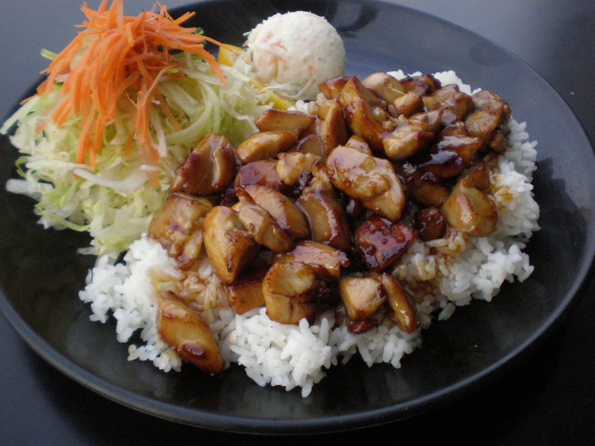 Teriyaki with Greens, Potato Salad and Rice