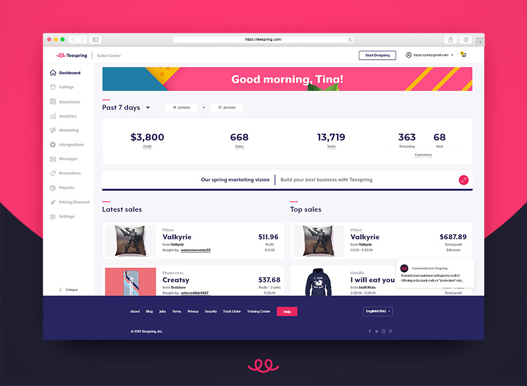 dashboard design - E-commerce dashboard design for Teespring