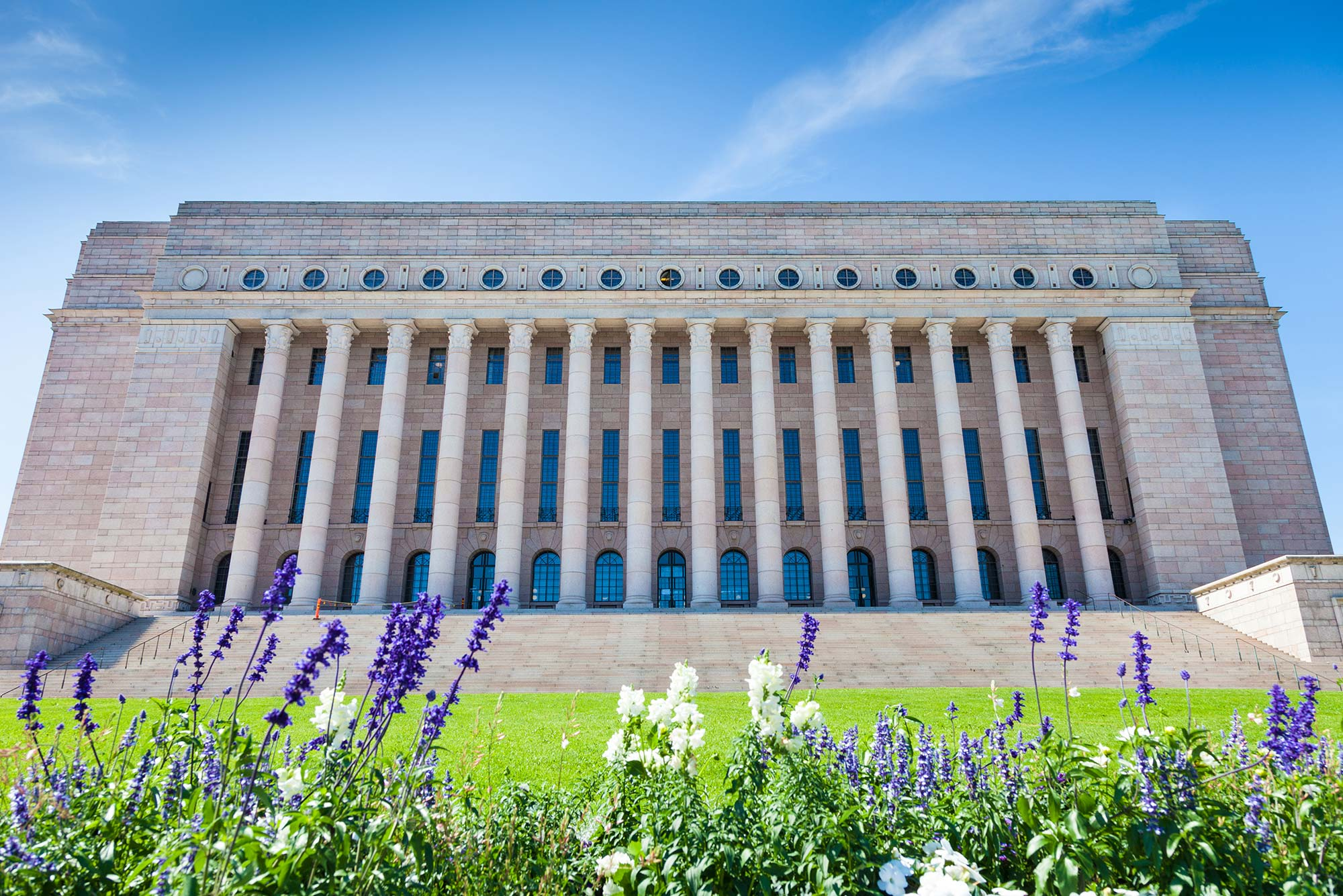 The Parliament House in Helsinki, Finland.