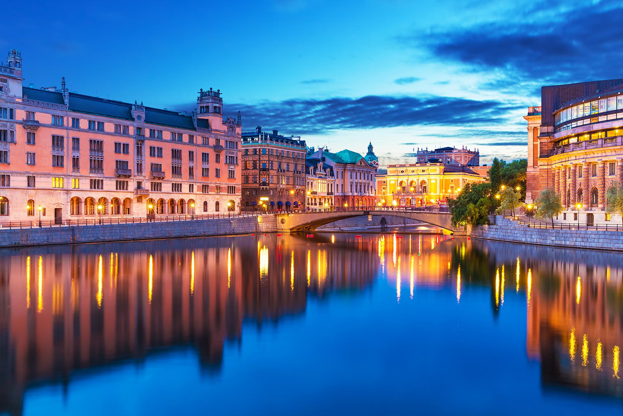 Dusk in Gamla Stan, or the Old Town, in Stockholm, Sweden.