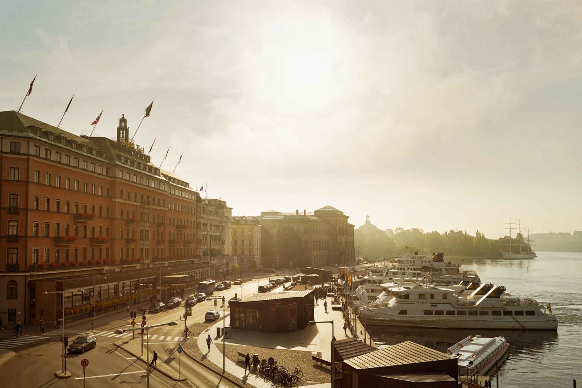 The luxurious 5-star Grand Hotel, Stockholm situated on the waterfront with beautiful views.