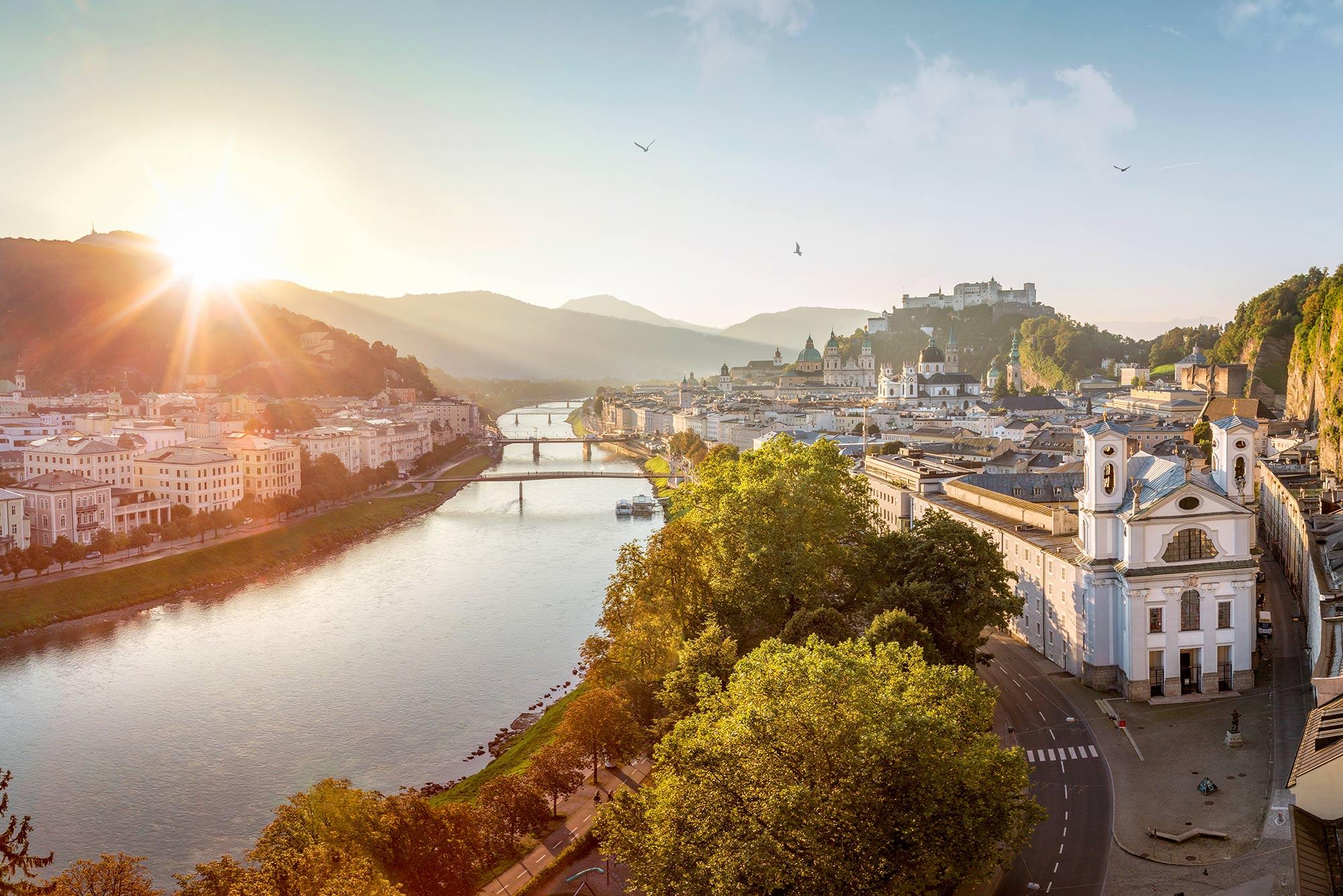 Sunrise over the beautiful city of Salzburg.