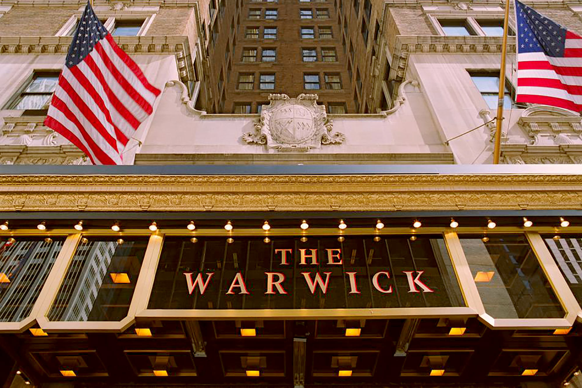 The grand entrance to the Warwick New York.
