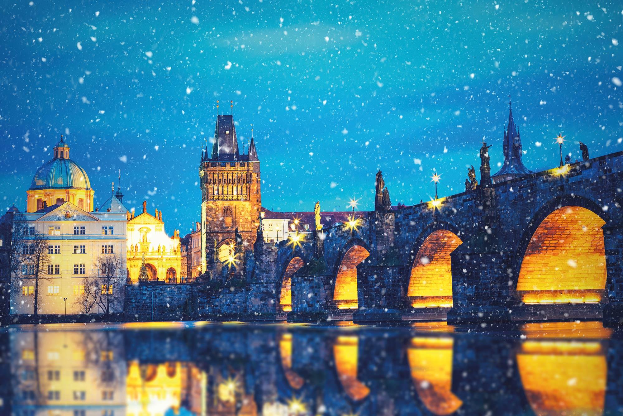 The Charles Bridge crossing the Vltava River in Prague.