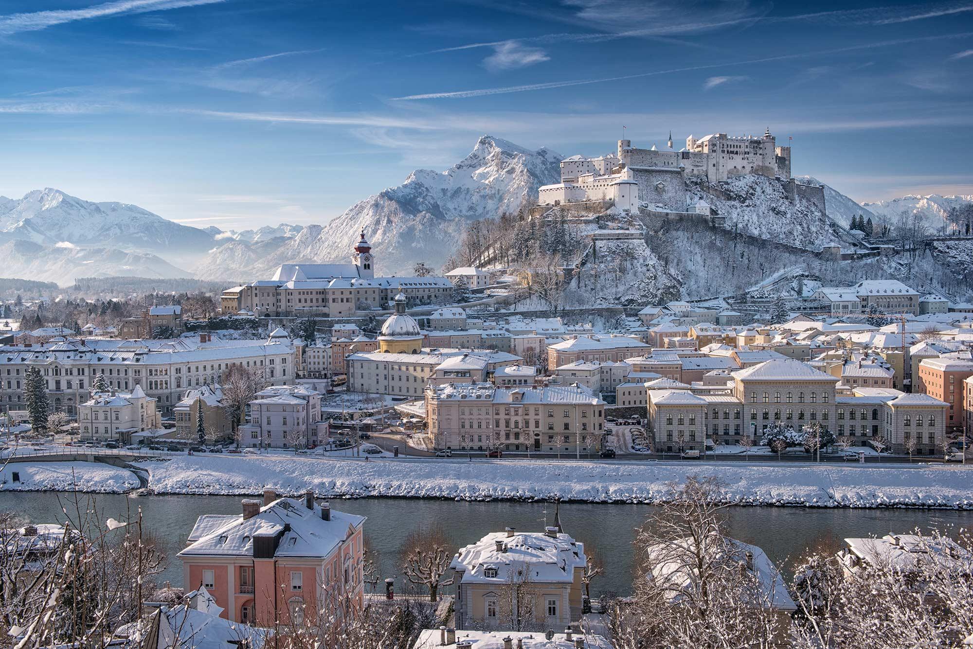 Hohensalzburg Fortress overlooking a wintery Salzburg.