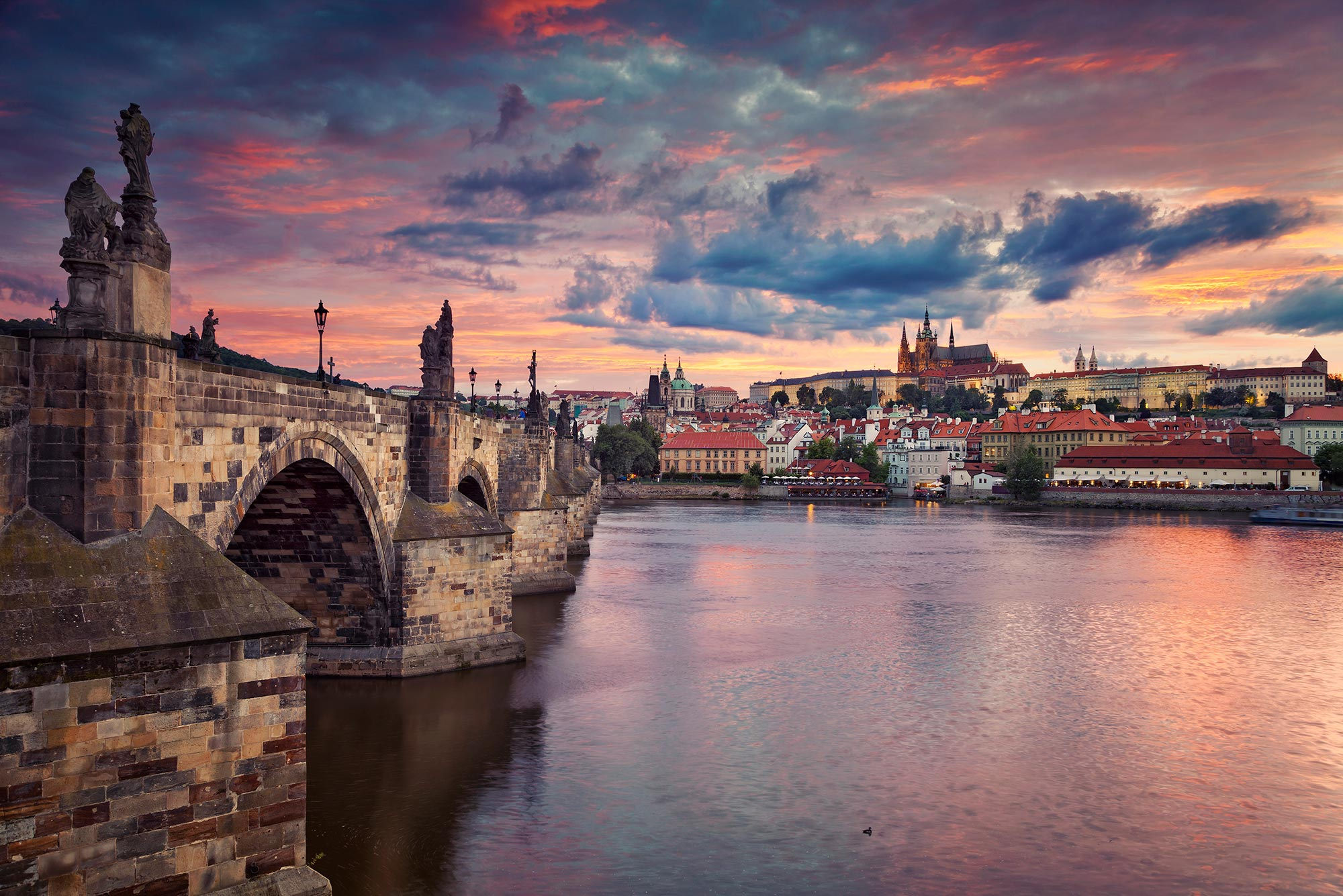 Sunset in the historic town of Prague, Czech Republic.