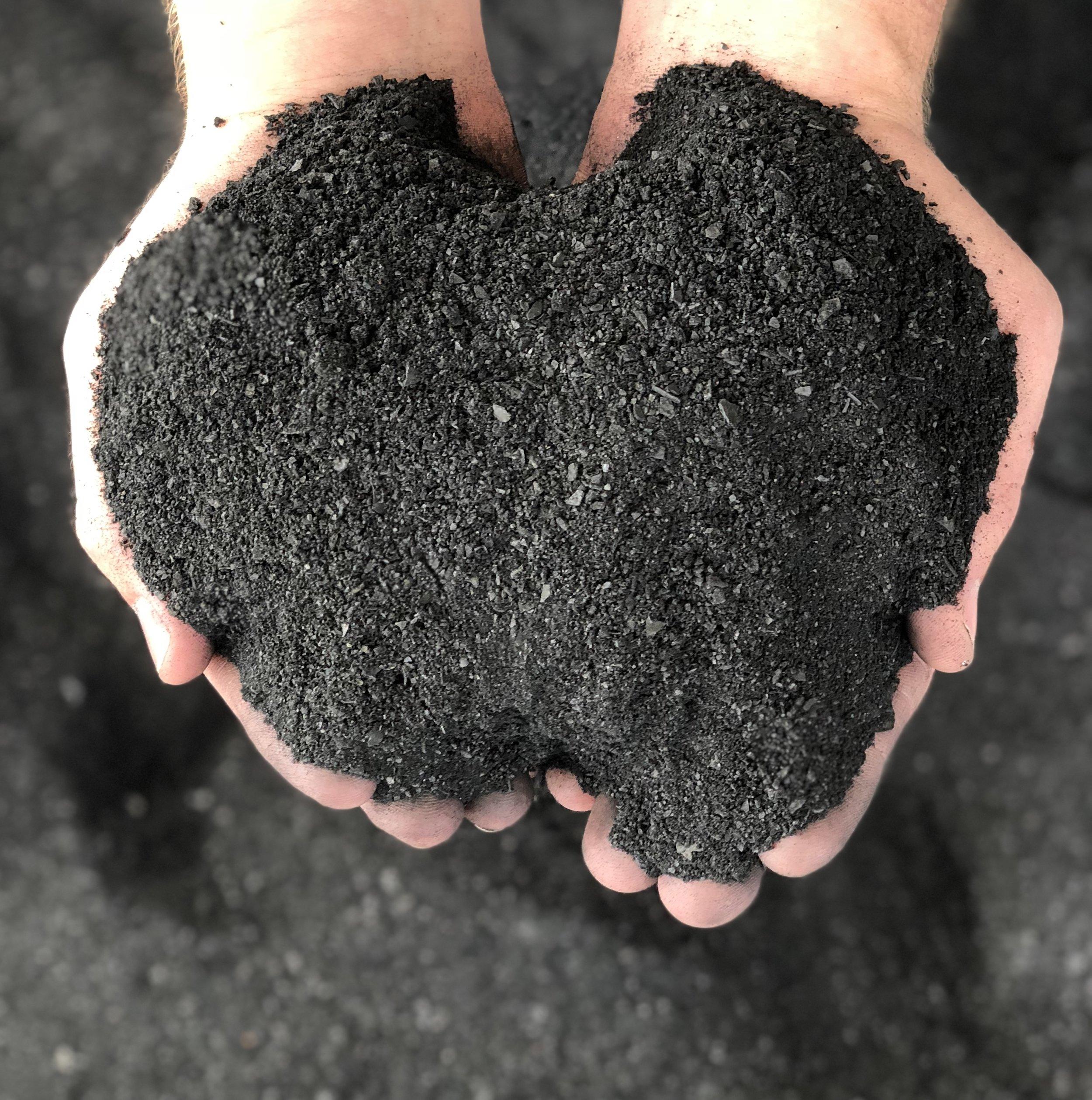 Carbonised nutshells after grinding