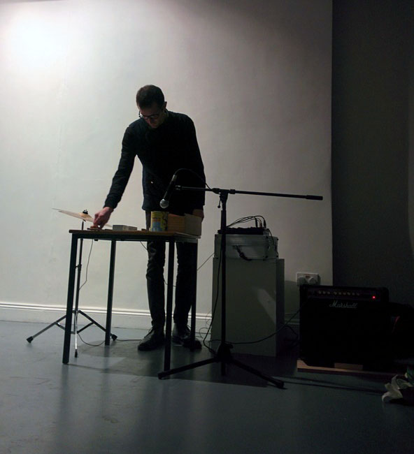 Approaching The Object , Angus-Hughes Gallery, London, 2015. Part of Constantly Evolving But Never Ending. Cymbal, objects and amplified table top.