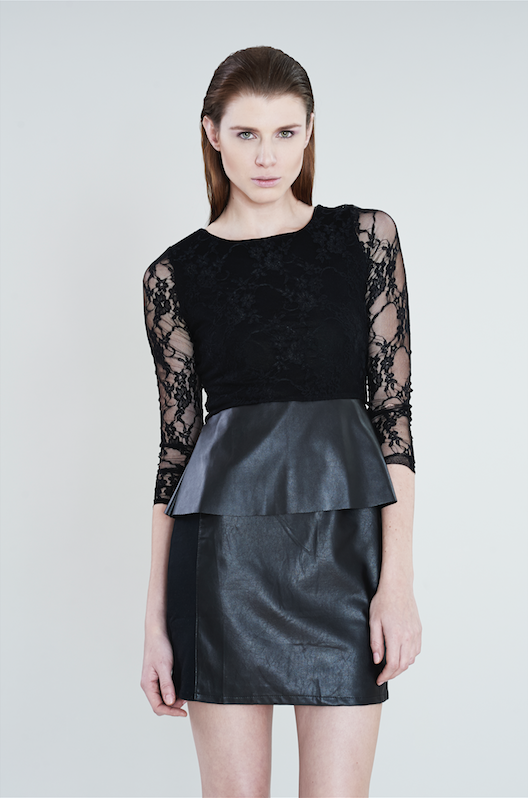 LEATHER SKIRTWITH LACE TOP -