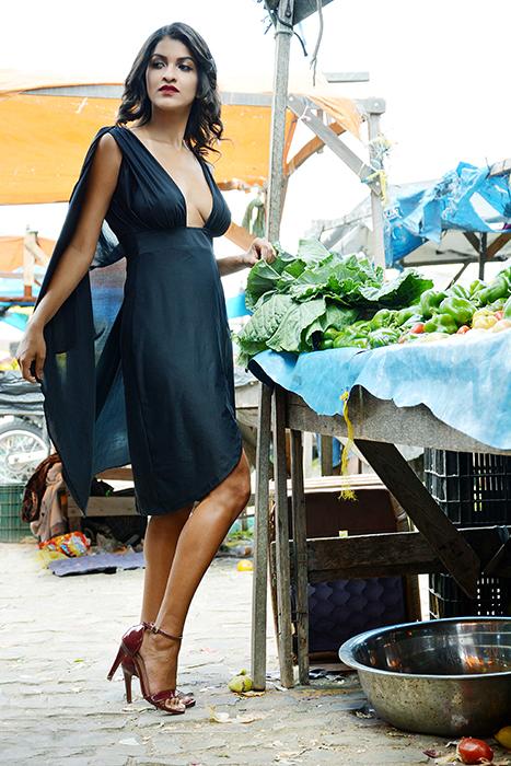 BLACK CAPE DRESS -