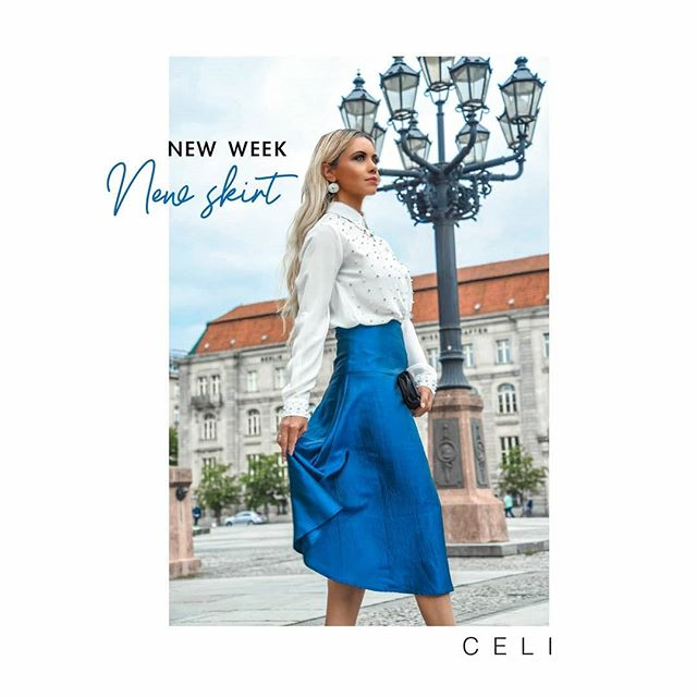 Med Rock Mare🌊Blue taffeta skirt that glistens ✨from any angle debuts in our @celi.fashion - 🔸Design of the Week🔸 edit. 👜 Pair it with colour popping accessories to highlight its shades.  _ _ _ _  Med Rock Mare for less only this Week! 20% OFF 🔶 From 149€ to 119,20€ 📣#alineceli Discover our NewCollection through the link in bio. @celi.fashion (📸:@suzy_edward ) . . . . . . #ootd #outfit #outfits #trueblue #lit #berlinerdom #influencermodel #influencer #ig_deutschland #fashioninfluencers #germany #suzyedward #instaberlin #visit_berlin #alineceli #celifashion #designoftheweek #bluesky #skylovers #quartier206 #gallerieslafayette