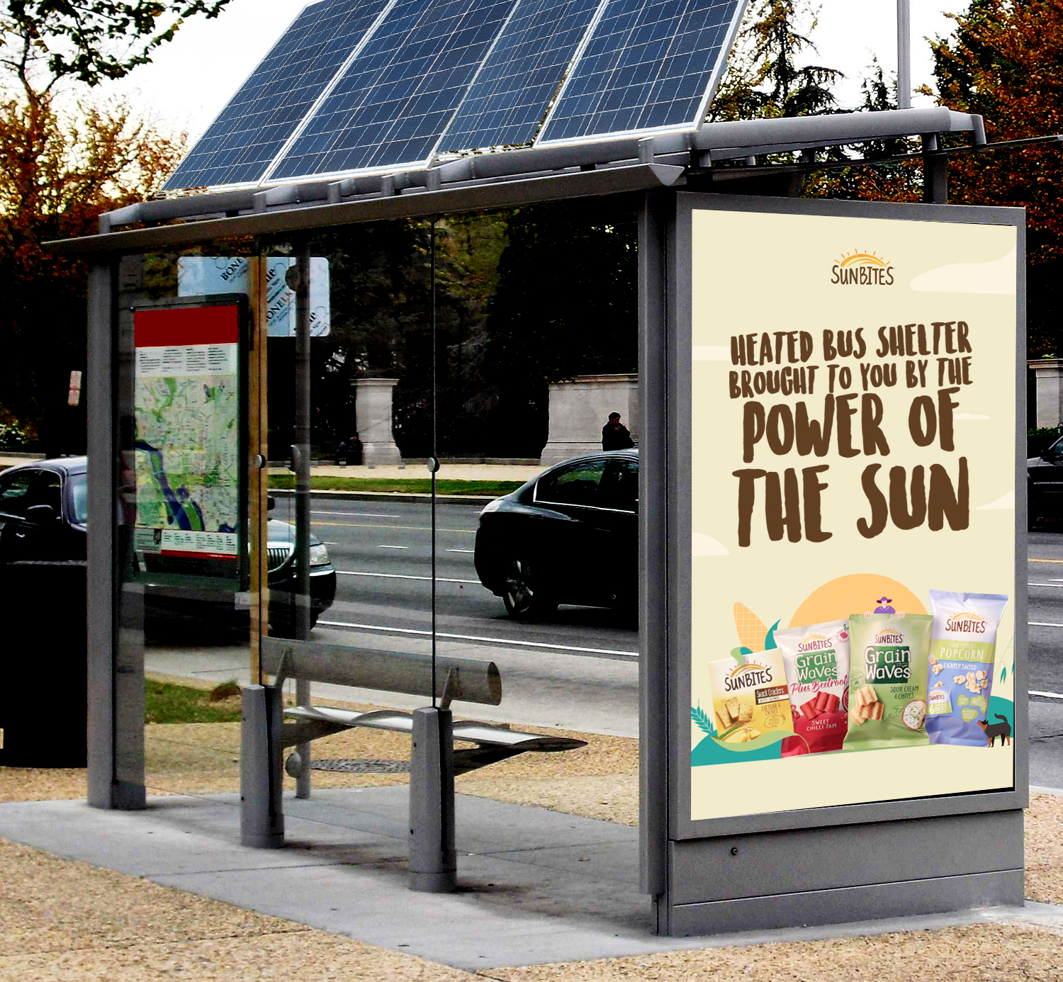 Special Build OOH - Solar panels on the top of bus shelters would collect power during the day for heaters in the evening, representing one of the many reasons Sunbites loves the sun.