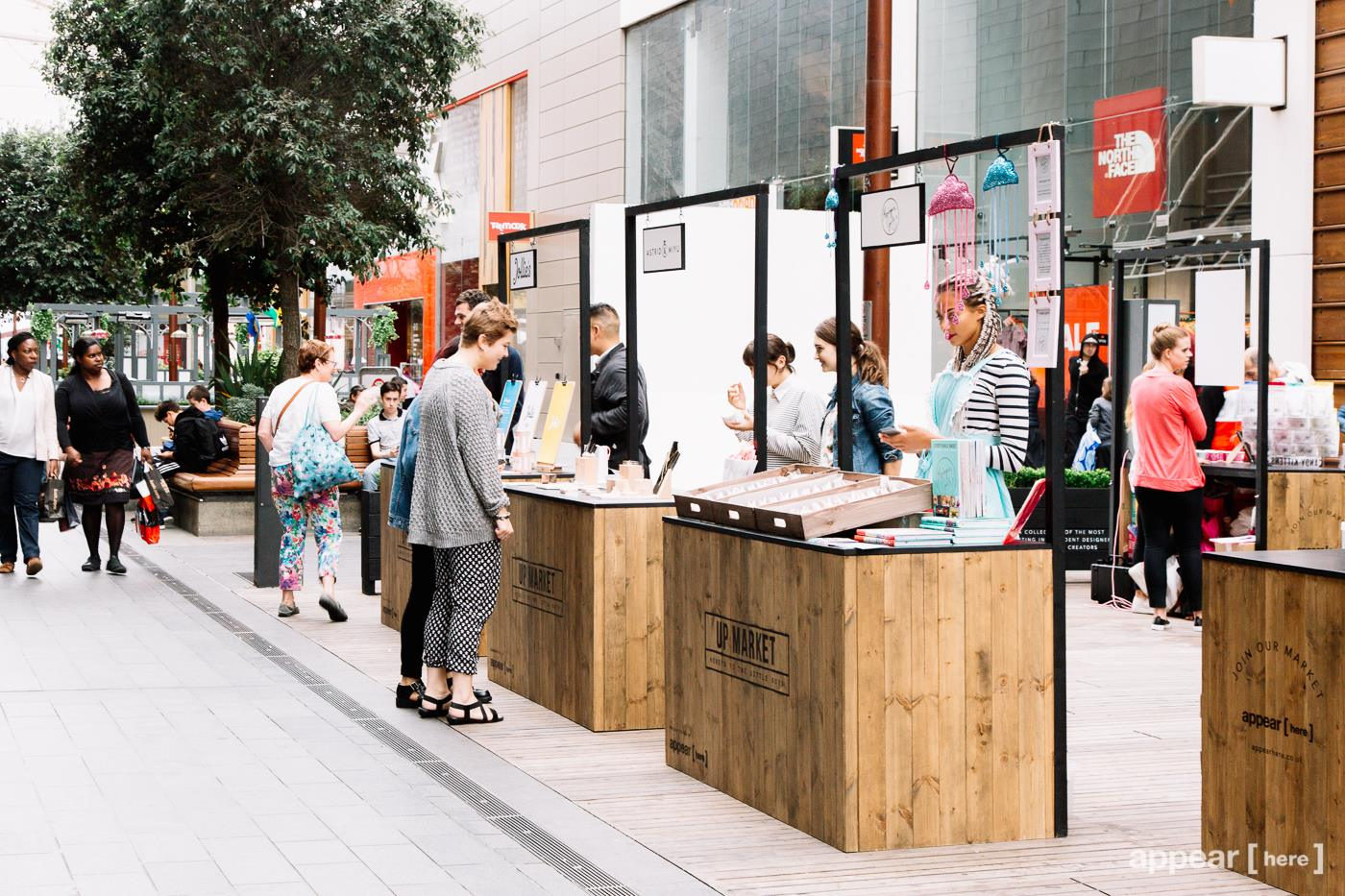 Our set of premium market stalls in the Bullring in Birmingham, built for Appear Here and Hammerson