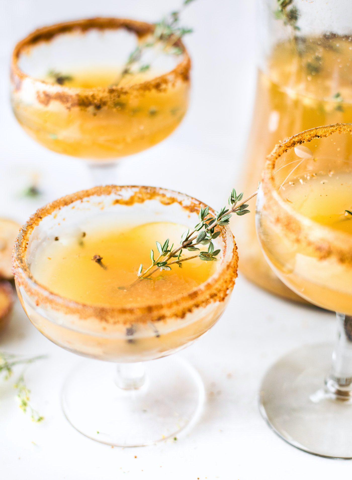 Recipe and image:     https://www.cottercrunch.com/honey-roasted-pear-sparkling-cocktails-mocktails/