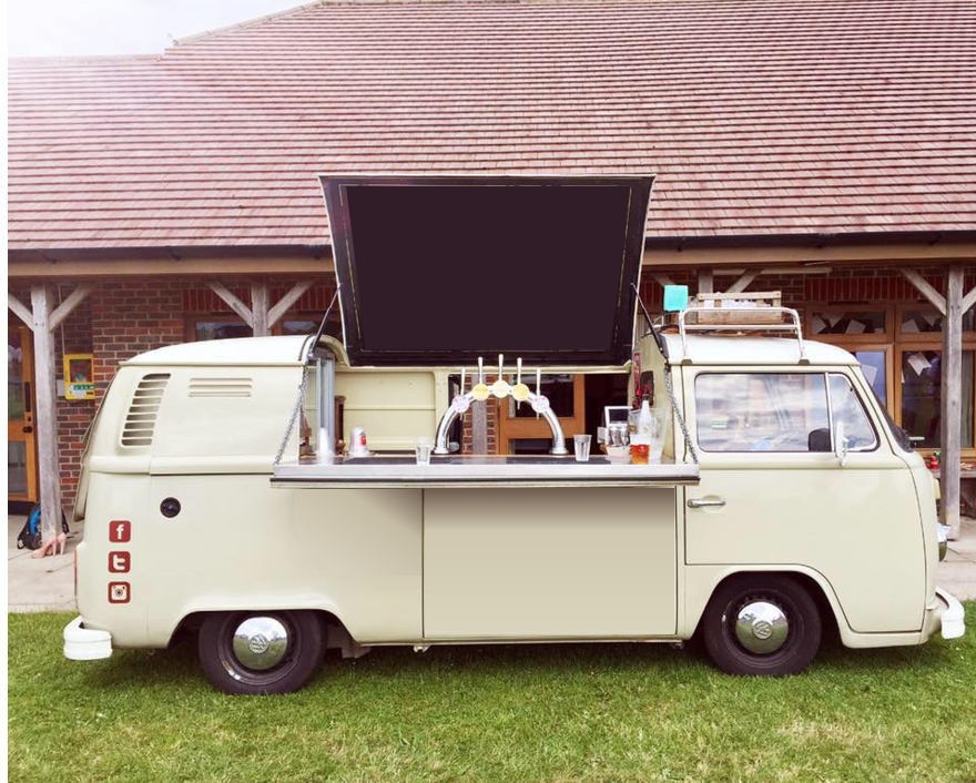 Quirky Group VW Camper Bar at event serving cocktails