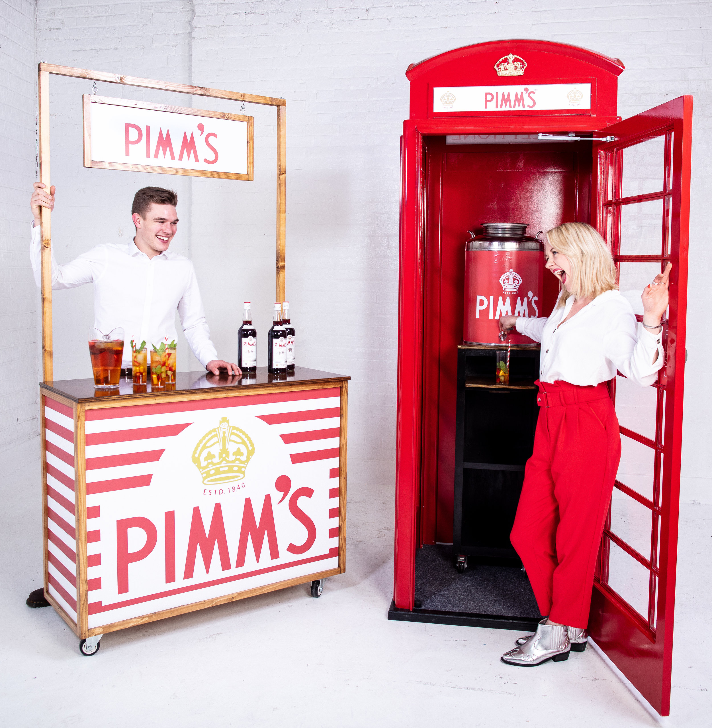 Quirky Group Pimm's Telephone Phone Box Bar with Brand Ambassadors serving drinks