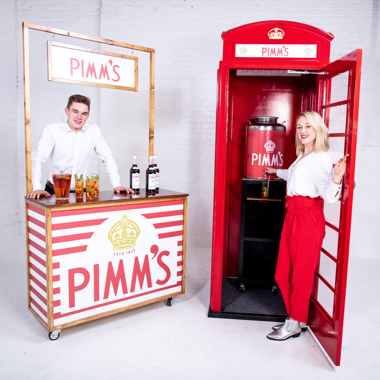 Pimms Phone box and branded bar with bar staff and drinks package