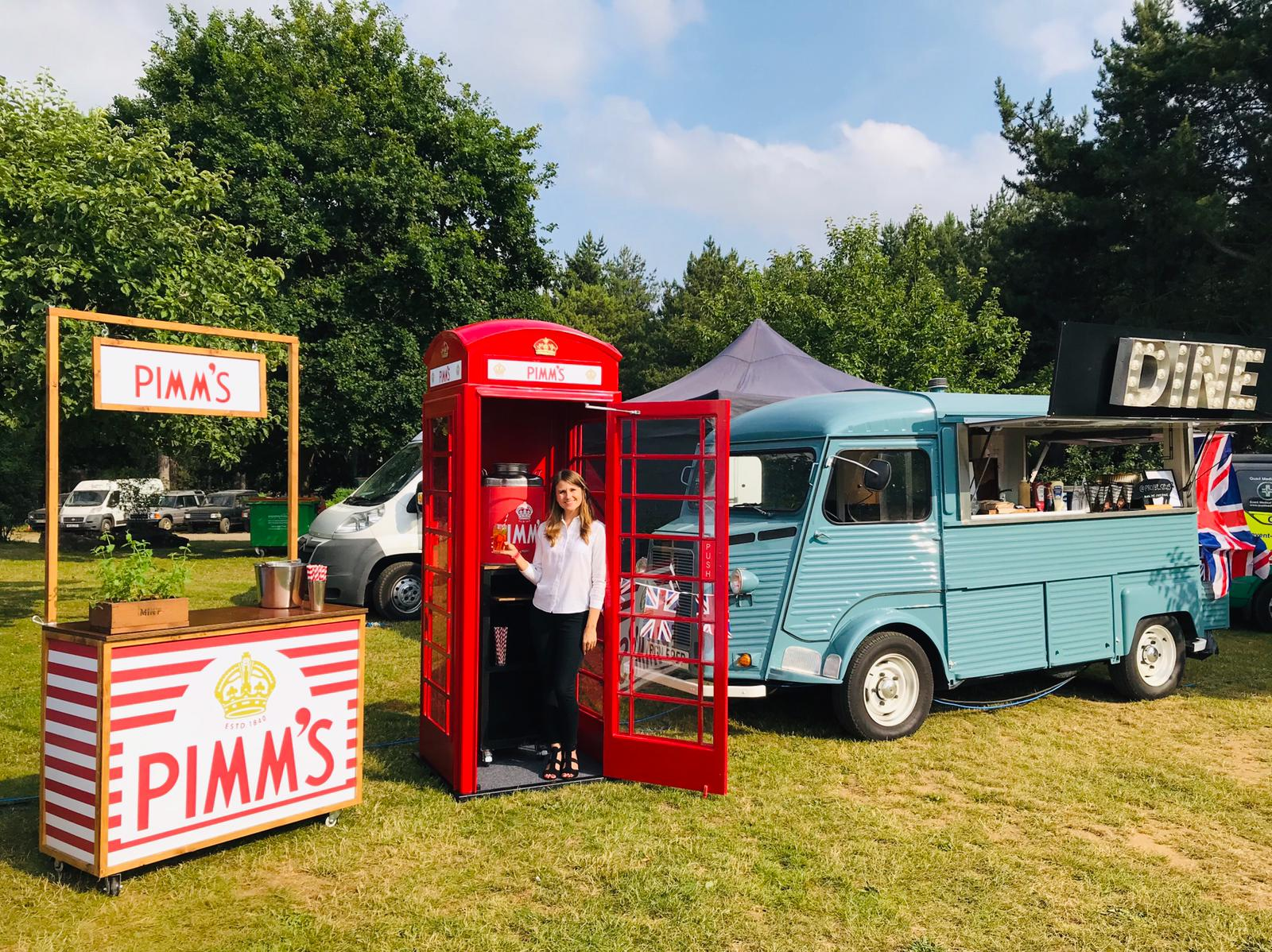 Quirky Group Phone Box bar hire at festival
