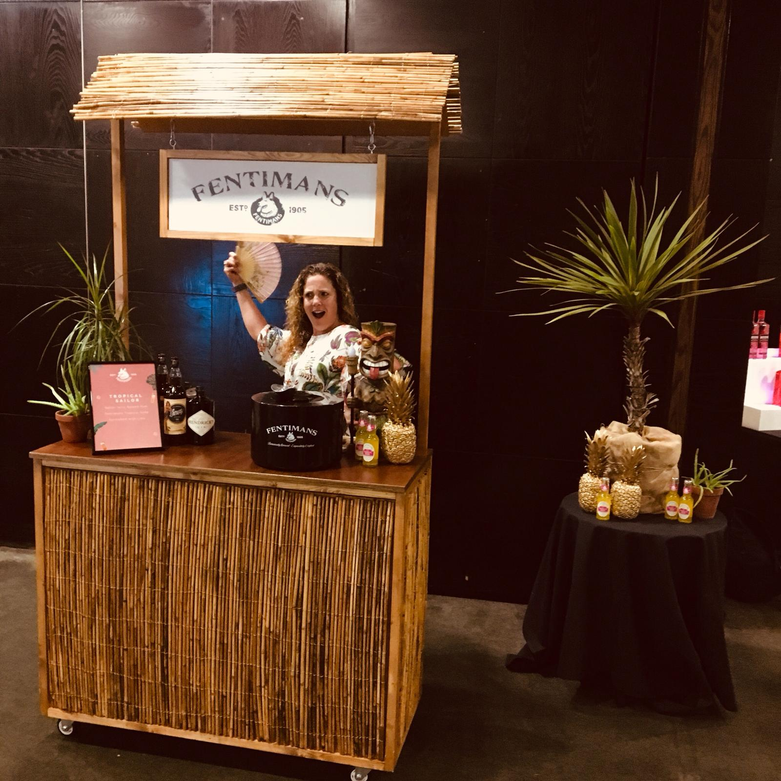 Fentimans at event for product launch with Quirky Group Small Tiki Bar hire