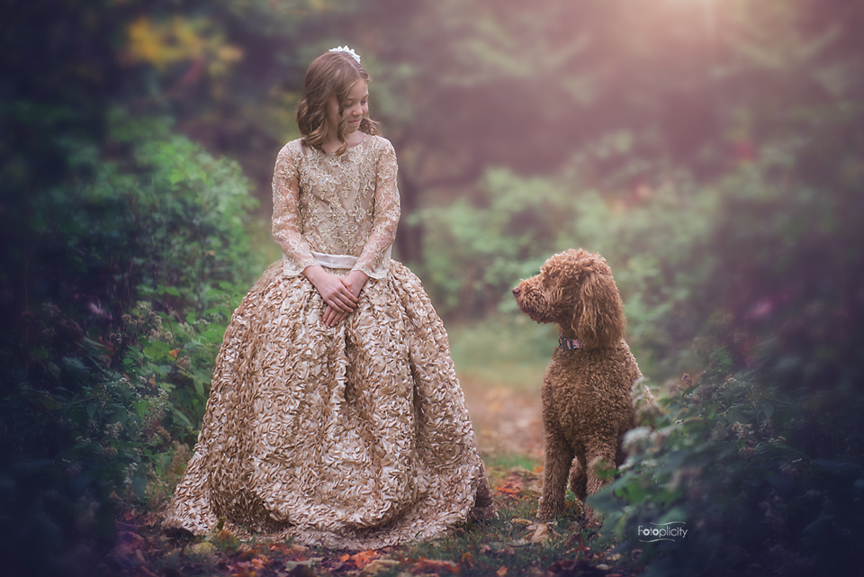 Couture dress with dog